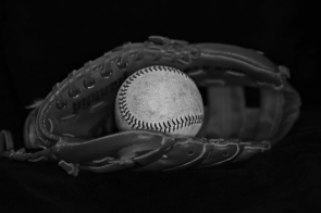 Baseball ball and glove